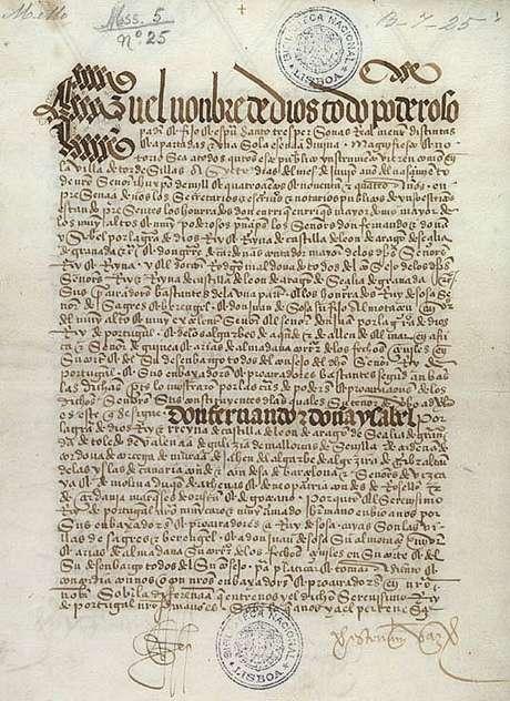 Tratado de Tordesilhas, de 1494, foi assinado por Portugal e Castela (Espanha)