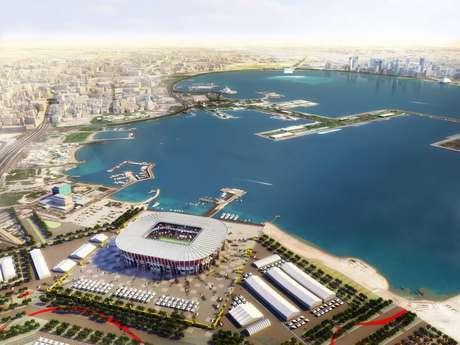 Imagem de computador mostra o Estádio Ras Abu Aboud, na capital Doha, uma das sedes da Copa de 2022