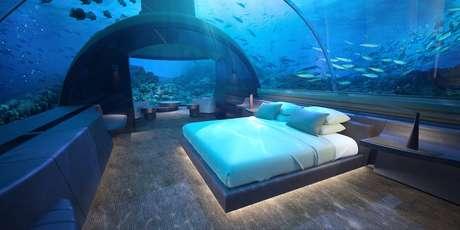Quarto submerso da 'villa' Muraka no Conrad Maldivas Rangali Island
