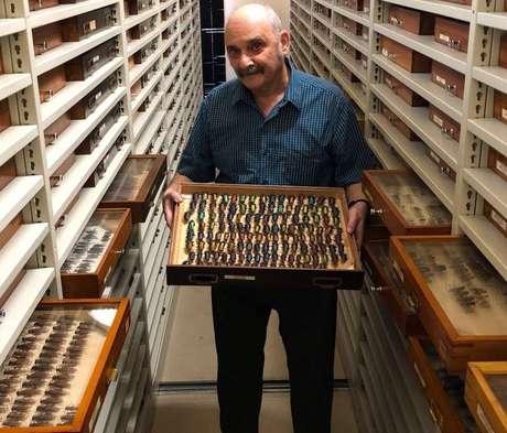 O entomologista Miguel Monné dentro do maior armário compactador da coleção de insetos que ficava no Museu Nacional, no Rio. Com44 fileiras e 10.500 gavetas entomológicas, guardava cerca de 3 milhões de exemplares ali