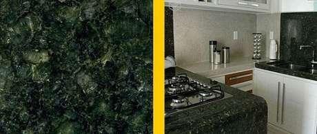 20. Granito verde Ubatuba em bancada de cozinha. Projeto de Pedra Canjiquinha