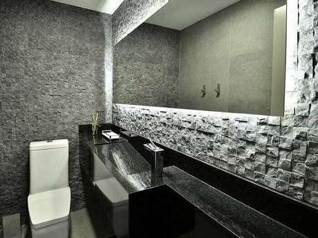 4. O revestimento 3D pode ser feito em pedra. Projeto por Mairas Chaff.