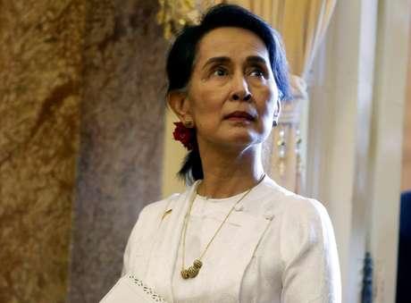 Suu Kyi durante evento em Hanói  13/9/2018   REUTERS/Kham/Divulgação