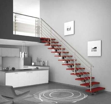 52. Modelos simples de guarda-corpo de alumínio se adaptam a diversos estilos de decoração – Foto: Stairs Design Ideas