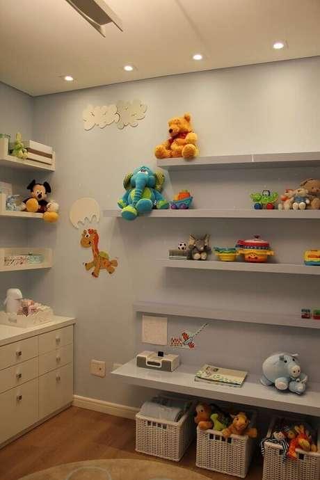 55- Prateleiras para quarto infantil deixam o ambiente mais organizado e convidativo Fonte: Helaine Goes Pinterich