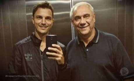Diego Esteves ao lado do pai, Marcelo Rezende.