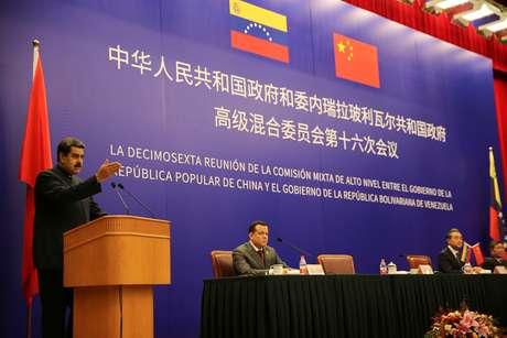 Presidente da Venezuela, Nicolás Maduro, durante evento em Pequim 14/09/2018 Palácio Miraflores/Divulgação via Reuters
