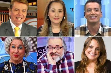 Acima, Nelson Rubens, Sonia Abrão e Leo Dias; abaixo, Tia, Leão Lobo e Fabíola Reipert: falar da vida alheia virou antídoto contra a monotonia