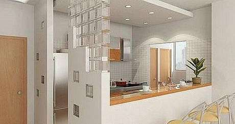 10- Cozinha com balcão e divisórias de parede de drywall
