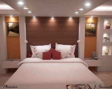 16- Quarto com sancas e nichos de drywall com iluminação embutida