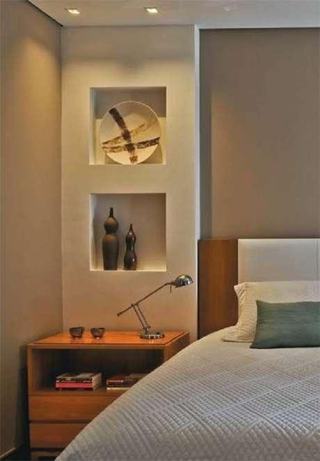 17- Nichos para quarto de casal feito com drywall. Fonte: Dcorevoce