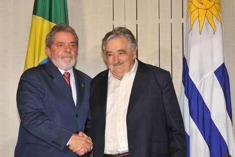 Lula e Mujica quando eles eram presidentes do Brasil e do Uruguai