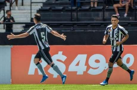Jogadores do Botafogo comemoram o único gol da partida (Foto: Magalhães Jr/Photopress/Lancepress!)