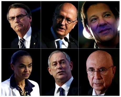Combinação de fotos de candidatos à Presidência