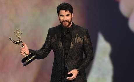 O ator durante o discurso de agradecimento no Emmy