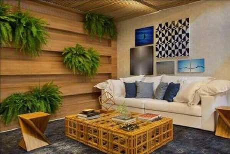 21- A sala foi decorada com vários vasos de samambaia pendurados na parede. Fonte: Um brinco