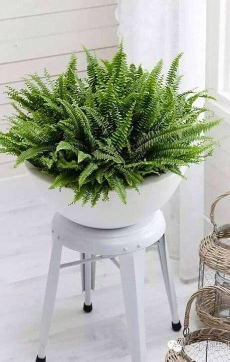 60- O vaso branco sobre o banquinho é utilizado como decoração na sala de estar. Fonte: Pinterest