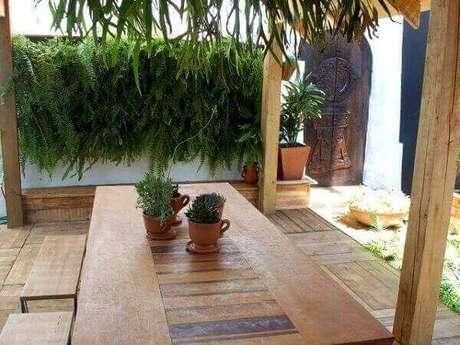 44- A samambaia foi utilizada como muro verde em área de churrasqueira. Fonte: Campo Grande News