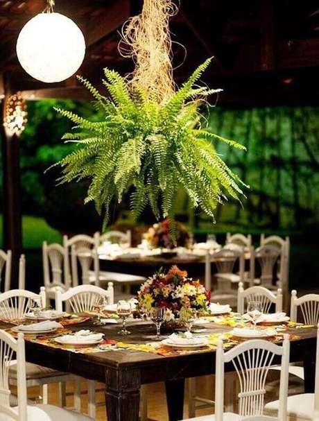 45- Na decoração do evento, a samambaia pendurada enfeita o salão de festas. Fonte: Gazeta do Povo