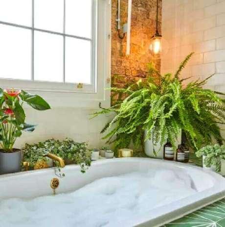 53- A samambaia decora o banheiro ao lado da banheira. Fonte: Patch