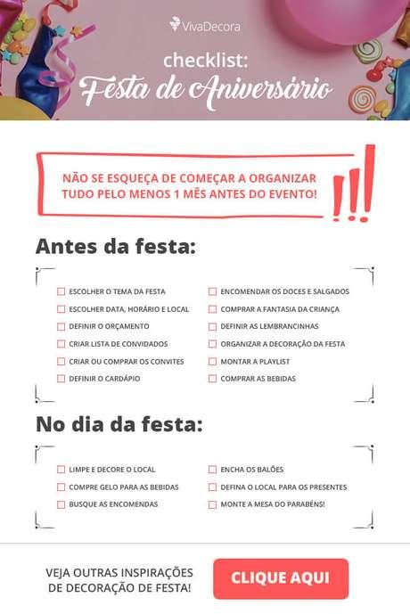 Infográfico – Check List Festa de Aniversário