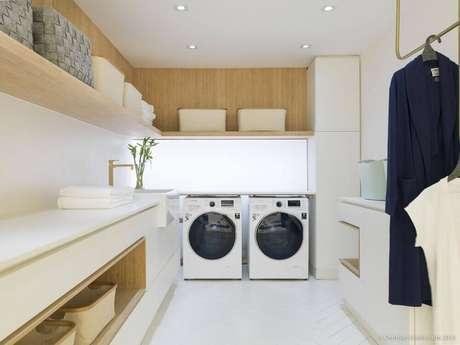29. Decoração clean para lavanderia planejada em marcenaria – Foto: CasaCor