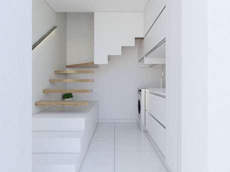 27. Decoração clean para lavanderia planejada – Foto: Semíramis Alice Arquitetura & Design