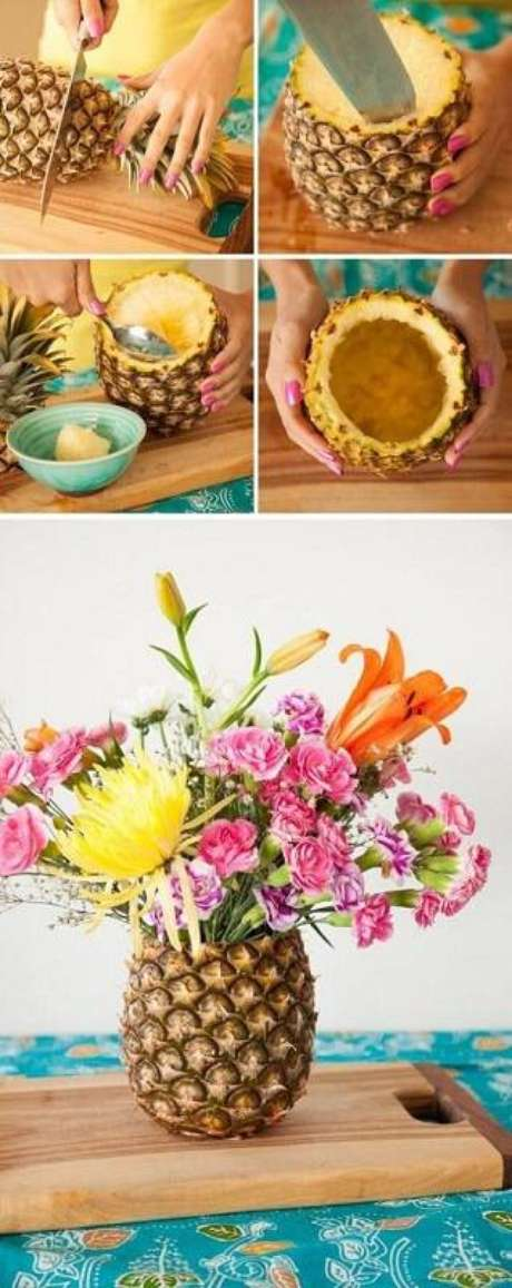 2. Tutorial fácil e criativo de centro de mesa com abacaxi e flores que pode ser uma linda decoração para festa