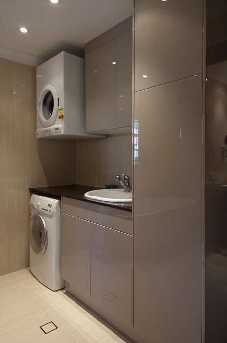 39. Tons neutros para decoração de lavanderia planejada – Foto: Kitchen Living Room Ideas