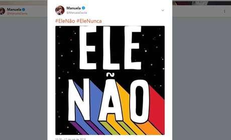 Vice de Fernando Haddad (PT), Manuela D'Ávila (PCdoB) endossacampanha contra Bolsonaro (PSL) nas redes sociais.