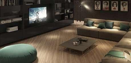 1- Piso laminado tradicional decora a sala de estar com elegância e requinte: Fonte: Duratex