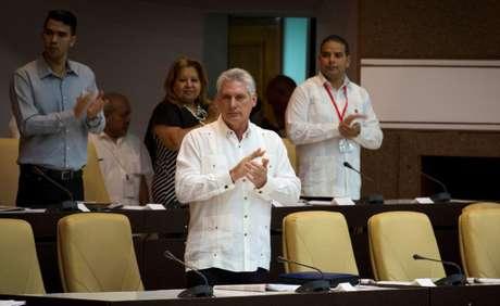 O presidente cubano, Miguel Díaz-Canel, durante sessão extraordinária da Assembleia Nacional de Cuba