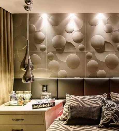 48. Parede de quarto moderno com gesso 3D cinza. Foto de Reforma 3D