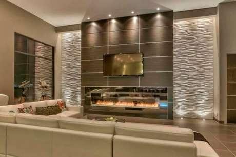 59. Sala com pé direito alto e gesso 3D ondulado e painel de madeira. Foto de Wall Art 3D Panel