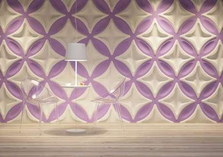 20. Sala de jantar moderna com gesso 3D com padrões grandes. Foto de Isol Design
