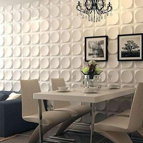 15. Sala integrada com parede de gesso 3D. Foto de eBay