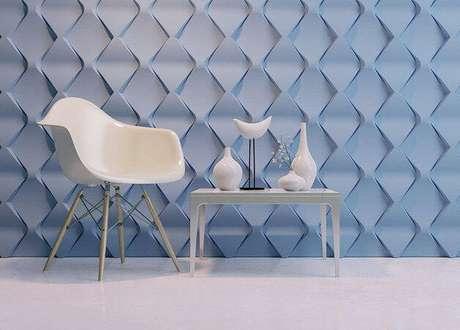 62. Sala minimalista com gesso 3D azul. Projeto de XMoldes