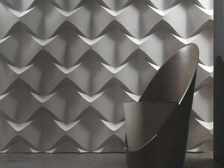 23. Sala moderna com parede de gesso 3D. Foto de Luceled