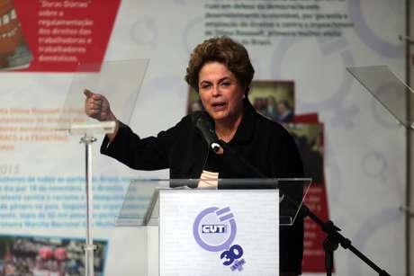 Dilma Rousseff em ato político na sede da Central Única dos Trabalhadores Nacional(CUT), no bairro do Brás, zona leste da capital paulista