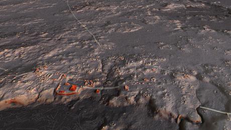 Simulação de visão aérea da cidade maia de Naachtun ao entardecer; cada ponto amarelo representa uma construção