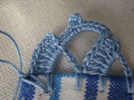 51. Bico de crochê azul em tecido com detalhes azuis. Foto de Crochet Passion