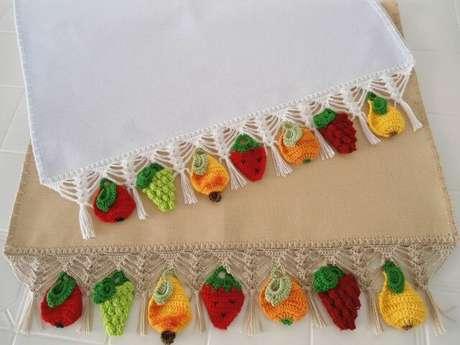 60. Bico de crochê para pano de prato com frutas de crochê. Foto de MS Musical