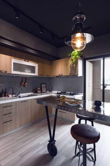 44. O cimento queimado é um modelo de revestimento para cozinha que está super em alta