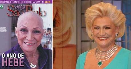 Careca, a apresentadora se tornou um símbolo da luta contra o câncer; ao lado, Hebe nos bons tempos de SBT