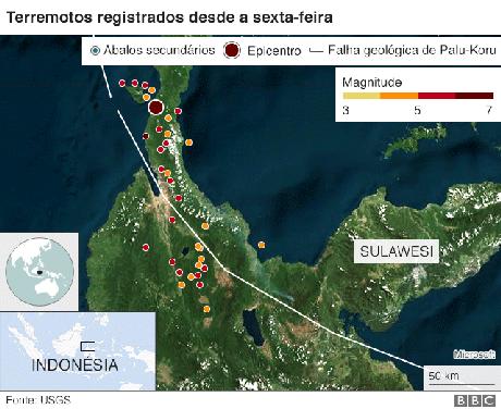 mapa dos tremores