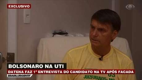 Jair Bolsonaro durante entrevista à Band