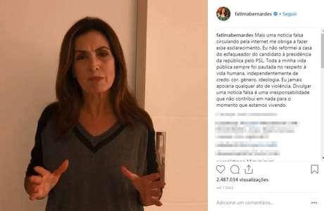 A apresentadora Fátima Bernardes teve de desmentir que pagoureforma de casa de agressor do presidenciável Jair Bolsonaro
