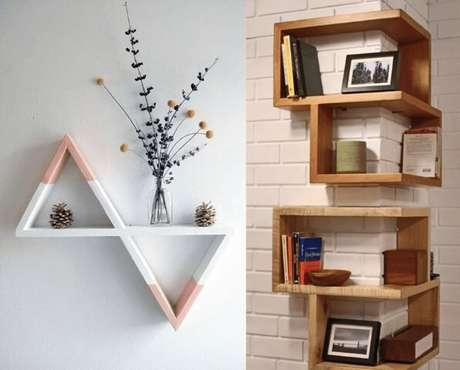 12. Prateleira de madeira triangular e de quina. Foto de Pinterest