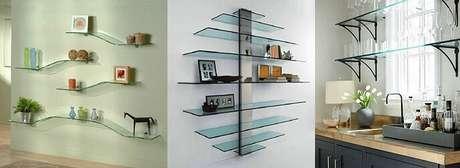 13. Prateleira de vidro em vários ambientes da casa