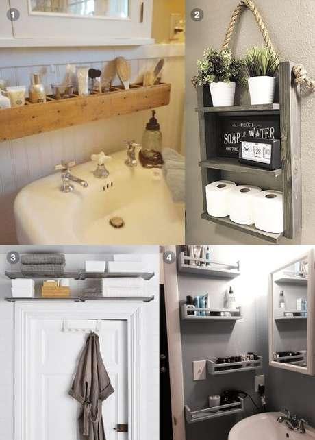 10. A prateleira para banheiro pode ser usada em vários lugares. Foto de Pinterest